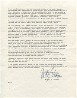 GOVERNOR MICHAEL DUKAKIS - TYPED LETTER SIGNED 10/18/1984