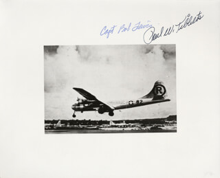 ENOLA GAY CREW - AUTOGRAPHED SIGNED PHOTOGRAPH CO-SIGNED BY: ENOLA GAY CREW (BOB LEWIS), ENOLA GAY CREW (PAUL W. TIBBETS)