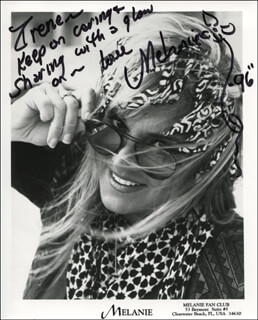 MELANIE - INSCRIBED PRINTED PHOTOGRAPH SIGNED IN INK 1996
