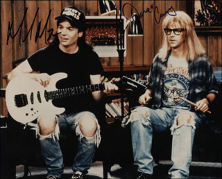 WAYNE'S WORLD MOVIE CAST - AUTOGRAPHED SIGNED PHOTOGRAPH CO-SIGNED BY: DANA CARVEY, MIKE MYERS
