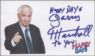 GARRY MARSHALL - PRINTED CARD SIGNED IN INK