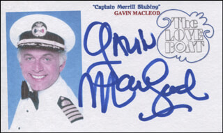GAVIN MacLEOD - PRINTED CARD SIGNED IN INK