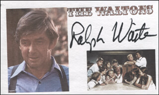 RALPH WAITE - PRINTED CARD SIGNED IN INK