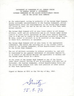 Autographs: GRAND ADMIRAL KARL DONITZ - TYPESCRIPT SIGNED 08/15/1973