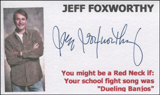 JEFF FOXWORTHY - PRINTED CARD SIGNED IN INK