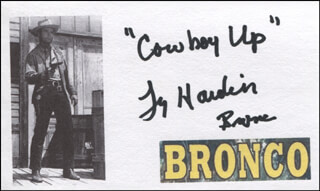 TY HARDIN - PRINTED CARD SIGNED IN INK
