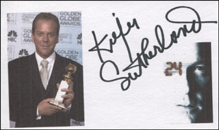 KIEFER SUTHERLAND - PRINTED CARD SIGNED IN INK