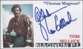 TOM SELLECK - PRINTED CARD SIGNED IN INK