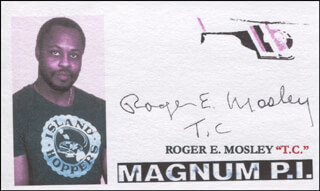 ROGER E. MOSLEY - PRINTED CARD SIGNED IN INK