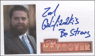 ZACH GALIFIANAKIS - PRINTED CARD SIGNED IN INK