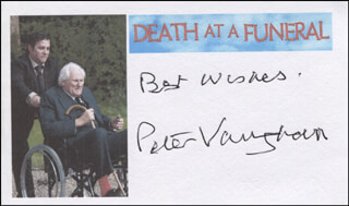 PETER VAUGHAN - AUTOGRAPH SENTIMENT SIGNED