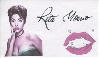 RITA MORENO - PRINTED CARD SIGNED IN INK
