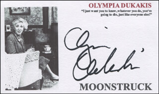 OLYMPIA DUKAKIS - PRINTED CARD SIGNED IN INK