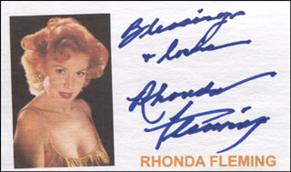 RHONDA FLEMING - AUTOGRAPH SENTIMENT SIGNED
