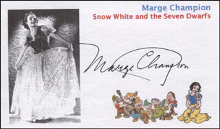 Autographs: MARGE CHAMPION - PRINTED CARD SIGNED IN INK