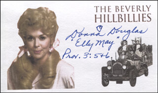 Autographs: DONNA DOUGLAS - PRINTED CARD SIGNED IN INK