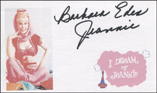 BARBARA EDEN - PRINTED CARD SIGNED IN INK
