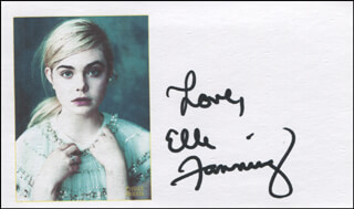 ELLE FANNING - PRINTED CARD SIGNED IN INK