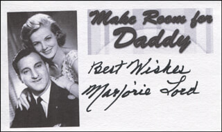 MARJORIE LORD - AUTOGRAPH SENTIMENT SIGNED