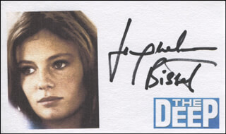 JACQUELINE BISSET - PRINTED CARD SIGNED IN INK