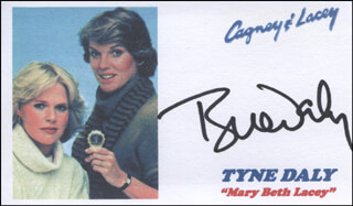 TYNE DALY - PRINTED CARD SIGNED IN INK  - HFSID 324651