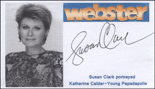 Autographs: SUSAN CLARK - PRINTED CARD SIGNED IN INK