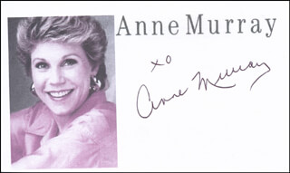 ANNE MURRAY - PRINTED CARD SIGNED IN INK