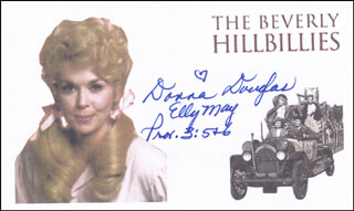 DONNA DOUGLAS - PRINTED CARD SIGNED IN INK