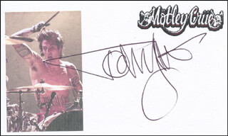 MOTLEY CRUE (TOMMY LEE) - PRINTED CARD SIGNED IN INK