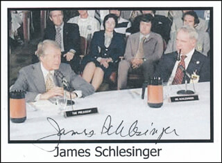 JAMES R. SCHLESINGER - PRINTED PHOTOGRAPH SIGNED IN INK