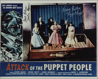 Autographs: ATTACK OF THE PUPPET PEOPLE MOVIE CAST - PHOTOGRAPH SIGNED CO-SIGNED BY: JOHN AGAR, KEN MILLER