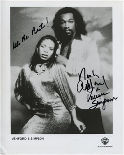 Autographs: ASHFORD & SIMPSON - PRINTED PHOTOGRAPH SIGNED IN INK CO-SIGNED BY: ASHFORD & SIMPSON (NICKOLAS ASHFORD), ASHFORD & SIMPSON (VALERIE SIMPSON)