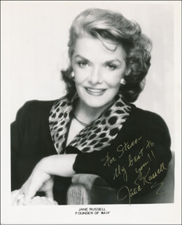 JANE RUSSELL - INSCRIBED PRINTED PHOTOGRAPH SIGNED IN INK