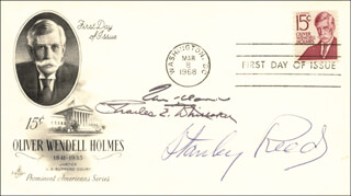 ASSOCIATE JUSTICE STANLEY F. REED - FIRST DAY COVER SIGNED CO-SIGNED BY: ASSOCIATE JUSTICE CHARLES E. WHITTAKER, ASSOCIATE JUSTICE TOM C. CLARK