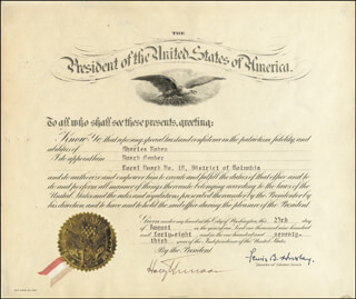 PRESIDENT HARRY S TRUMAN - CIVIL APPOINTMENT SIGNED 08/23/1948 CO-SIGNED BY: GENERAL LEWIS B. OLDEST SOLDIER HERSHEY