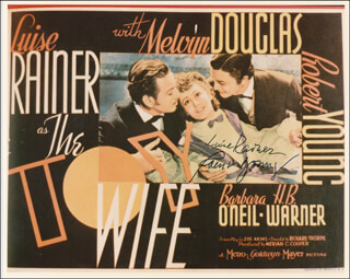 THE TOY WIFE MOVIE CAST - PRINTED PHOTOGRAPH SIGNED IN INK CO-SIGNED BY: LUISE RAINER, ROBERT YOUNG