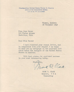 GENERAL MARK W. CLARK - TYPED LETTER SIGNED 12/30/1946