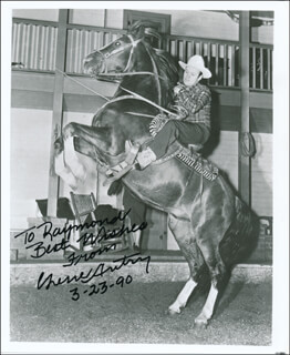 GENE AUTRY - AUTOGRAPHED INSCRIBED PHOTOGRAPH 03/23/1990