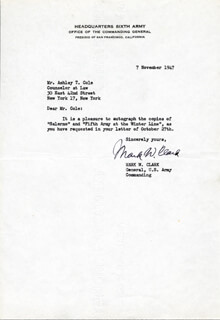 GENERAL MARK W. CLARK - TYPED LETTER SIGNED 11/07/1947