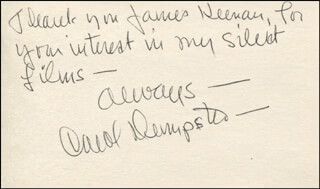 CAROL DEMPSTER - AUTOGRAPH NOTE SIGNED