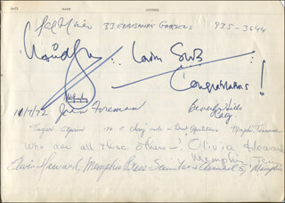 SAL MINEO - AUTOGRAPH CO-SIGNED BY: THE BEE GEES (MAURICE GIBB), LULU (MARIE MCDONALD MCLAUGHLIN LAWRIE) , LINDA THORSON, EVA REYES, ORLANDO SEALE, JOHN FOREMAN