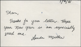 LINDA MILLER - AUTOGRAPH NOTE SIGNED 01/02/1981