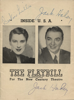 INSIDE U.S.A. PLAY CAST - SHOW BILL SIGNED CO-SIGNED BY: BEATRICE LILLIE, JACK HALEY SR.