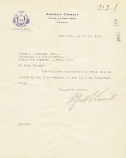 ALFRED E. SMITH - TYPED LETTER SIGNED 04/23/1914
