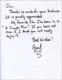 BRENT BRISCOE - AUTOGRAPH LETTER SIGNED