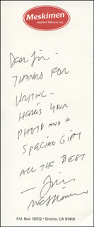 JIM MESKIMEN - AUTOGRAPH NOTE SIGNED