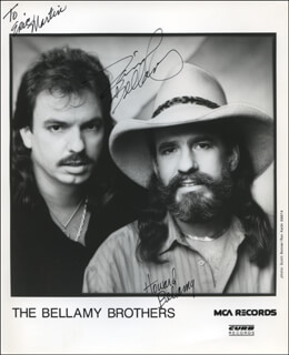 THE BELLAMY BROTHERS - INSCRIBED PRINTED PHOTOGRAPH SIGNED IN INK CO-SIGNED BY: THE BELLAMY BROTHERS (DAVID BELLAMY), THE BELLAMY BROTHERS (HOWARD BELLAMY)