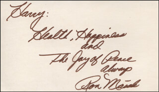 RON MASAK - AUTOGRAPH NOTE SIGNED