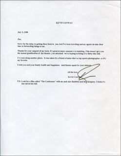 KEVIN CONWAY - TYPED LETTER SIGNED 07/09/1998
