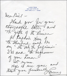 MAJOR LANNY ROSS - AUTOGRAPH LETTER SIGNED